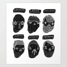 Black heads Art Print
