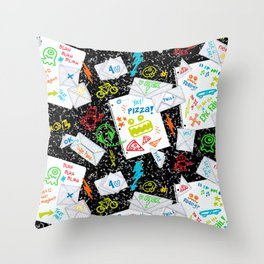Passing Notes in Class // Old School Origami with Hand Drawn Doodles Throw Pillow