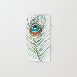 Peacock Tail Feather – Watercolor Hand & Bath Towel