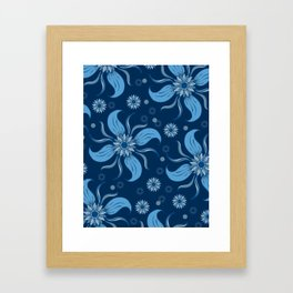 Floral Obscura Dark Blue Framed Art Print