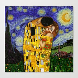 The kiss under the starry night Canvas Print