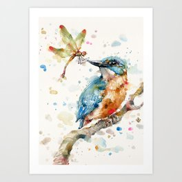 Interesting Relationships (Kingfisher & Dragonfly) Art Print