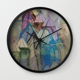Triangular Endings on the Top Above the Clouds / Urban 04-11-16 Wall Clock