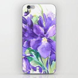Violet Flowers, Floral Bouquet watercolor design purple flowers iPhone Skin