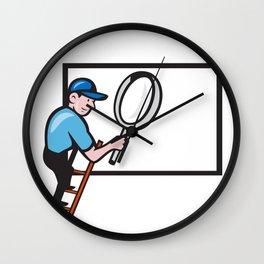 Worker Ladder Magnifying Glass Billboard Cartoon Wall Clock