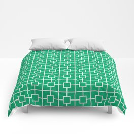 Jade Green Square Chain Pattern Comforters