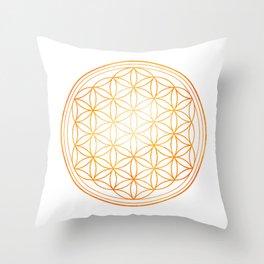 Sacral Orange Watercolor Flower of Life Throw Pillow