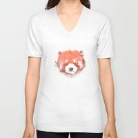 red panda V-neck T-shirts featuring Red Panda by Zach Terrell