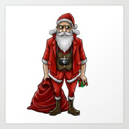 Hipster Santa Claus | Christmas Style Cool Fashion Art Print