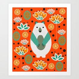 Bear in a floral spring garden Art Print