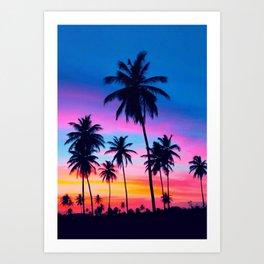 PALM-TREE-SUNSHINE Art Print