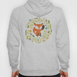 Woodland Fox illustration with cute floral wreath Hoody