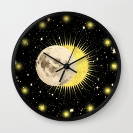 Imminent Eclipse Sun Moon & Stars Space Astronomy Cosmos Solar Lunar Wall Clock