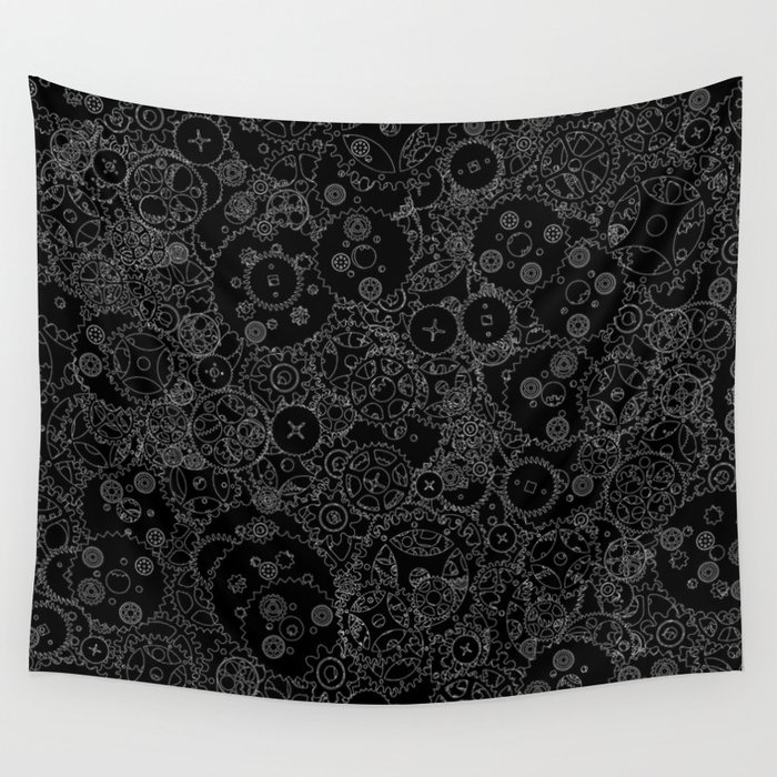 Clockwork B&W inverted / Cogs and clockwork parts lineart pattern Wall Tapestry