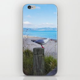 bird on pole waiting in new zealand water front iPhone Skin