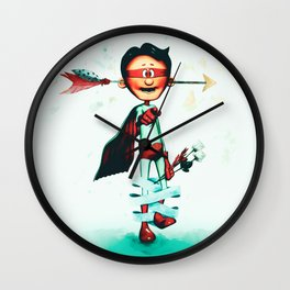 Super Hero In Love Wall Clock