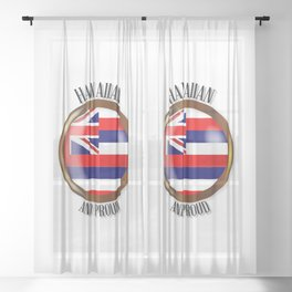 Hawaii Proud Flag Button Sheer Curtain