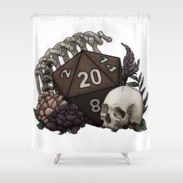 Skeleton D20 Tabletop RPG Gaming Dice Shower Curtain