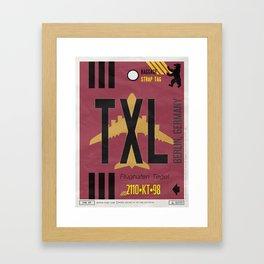 Vintage Berlin Tegel Luggage Tag Poster Framed Art Print