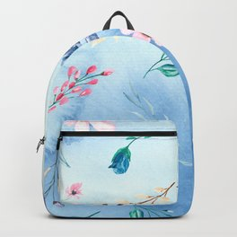 Flowers and lraves on blue watercolor background. Backpack