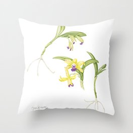 3 Stem flowering yellow and purple cattleya orchid Throw Pillow