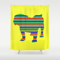 stripe Shower Curtains featuring Bulldog Stripe by Crayle Vanest
