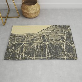 Cleveland map yellow Rug