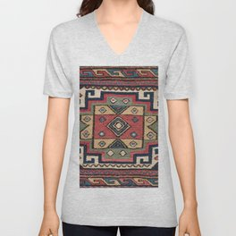 Cowboy Sumakh // 19th Century Colorful Red White Blue Western Lone Star Dallas Ornate Accent Pattern Unisex V-Neck