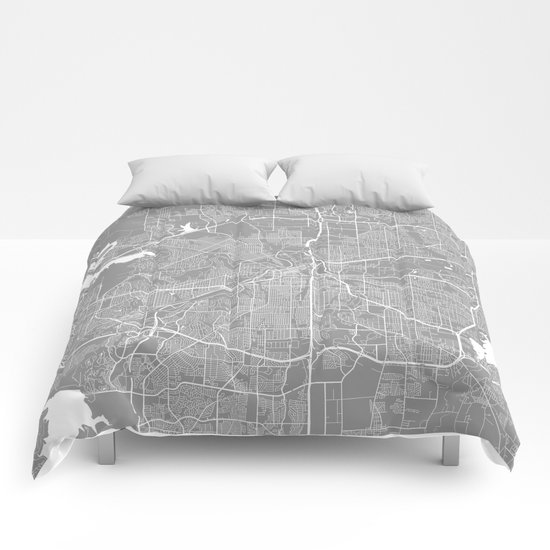 Fort Worth map grey Comforters