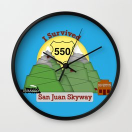 I Survived HWY 550 Durango to Silverton Wall Clock