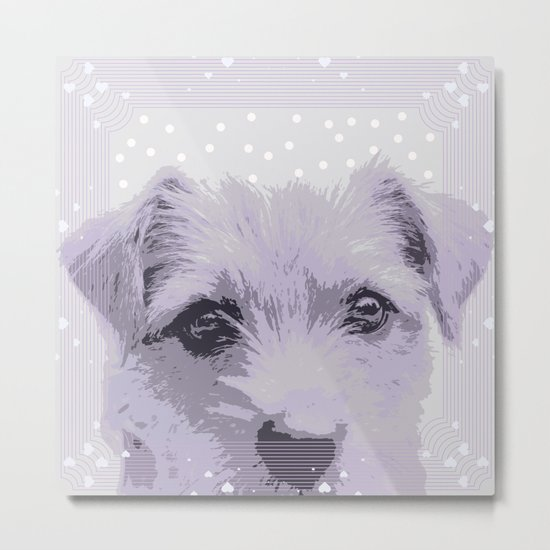 Curious little dog waiting for you - funny dog portrait Metal Print