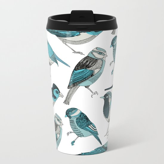 pale green birds Metal Travel Mug