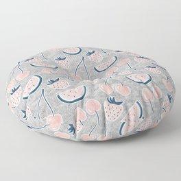 Fruit Pattern on Gray Melange Floor Pillow