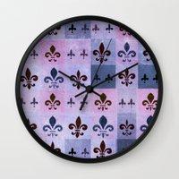 fleur de lis Wall Clocks featuring Fleur de lis #5 by Camille