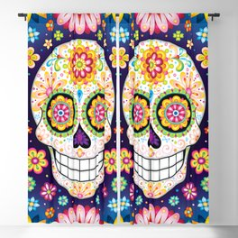 Sugar Skull with Flowers - Colorful Art by Thaneeya McArdle Blackout Curtain