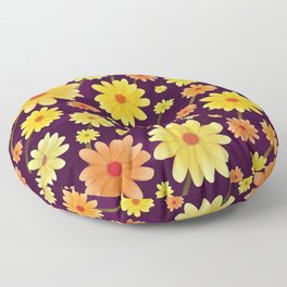 Yellow dots, Yellow Flower, Floral Pattern, Yellow Blossom Floor Pillow
