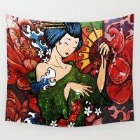 geisha Wall Tapestries featuring Geisha by Spooky Dooky