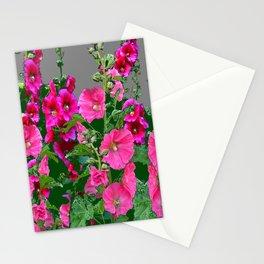 ENGLISH COTTAGE  PINK HOLLYHOCKS  GREEN & GREY GARDEN Stationery Cards