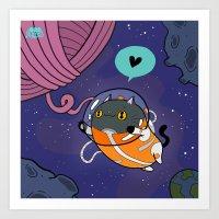 Space Cat Valentine Art Print