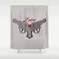 guns Shower Curtains featuring Love Guns by AnnaCas