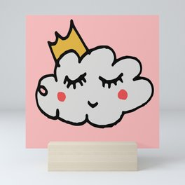 April showers king cloud Pink #nursery Mini Art Print
