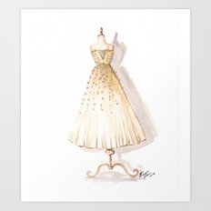 Glow and Cream Watercolor Gown Art Print