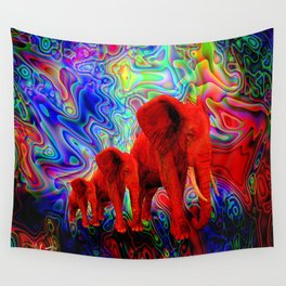 Psychedelic Pachyderms Wall Tapestry