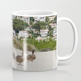 Ducks in one of the biggest and tourist beaches of Menorca, Son bou. Coffee Mug