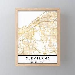 CLEVELAND OHIO CITY STREET MAP ART Framed Mini Art Print