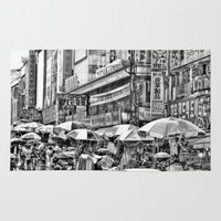 korean Area & Throw Rugs featuring Korean Rain by Anthony M. Davis