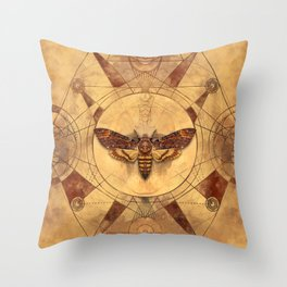Death-head Hawkmoth Sacred Geometry Digital Art Throw Pillow