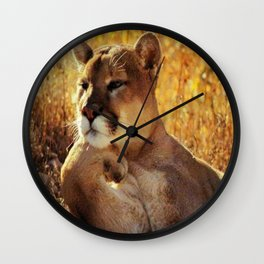 The Golden Thinker 🐾 Cougar 🐾 Wall Clock