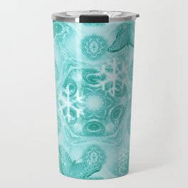 Butterflies and snow in blue Travel Mug