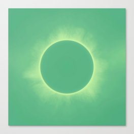 Solar Eclipse in Cold Green Color Canvas Print